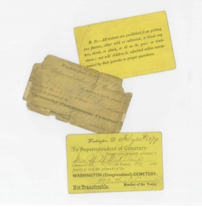 Tickets from the Congressional Cemetery archives.